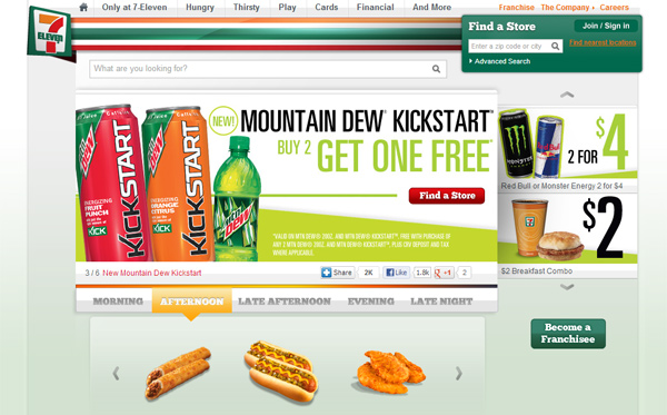 7-Eleven - Website full of junk food
