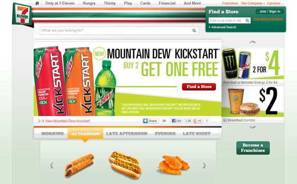 7-Eleven - Website full of junk food