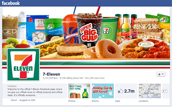 7-Eleven - Facebook page full of junk food
